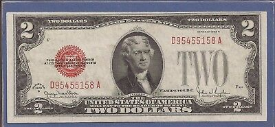 1928 G $2 United States Note (USN),Large Red Seal,Choice Crisp AU,Nice!