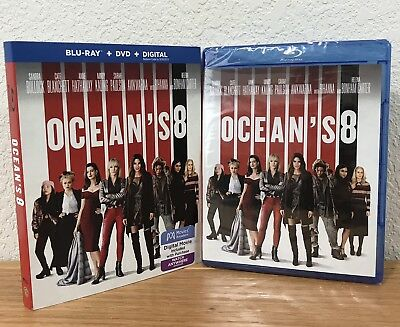 OCEAN'S 8 (Blu-Ray + DVD + Digital, 2018) with SLIPCOVER ~ NEW & SEALED