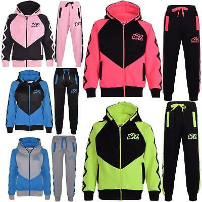 Kids Girls Boys Tracksuit Designer Contrast Panel Hooded Top Bottom Jogging Suit
