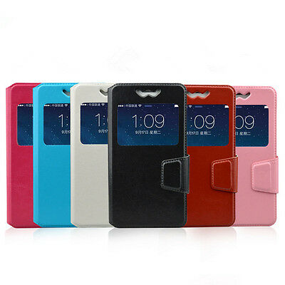 Cell Phone Universal PU Leather Flip Cover Case For 3.5-6.0 inch Mobile PhonedFH