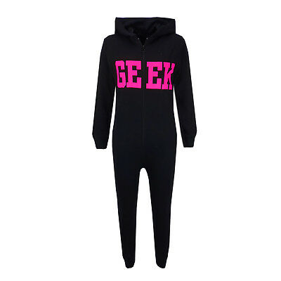 Kids Boys GEEK Print Black & Pink A2Z Onesie One Piece All In One Summer PJ's