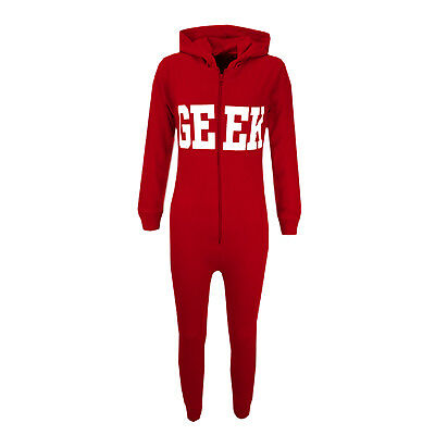 Kids Boys GEEK Print Red A2Z Onesie One Piece All In One Summer PJ's 5-13 Years