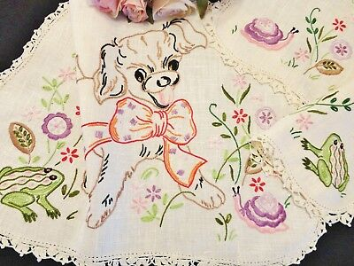 Stunning Vintage Hand Embroidered Duchess Set Puppy & Friends