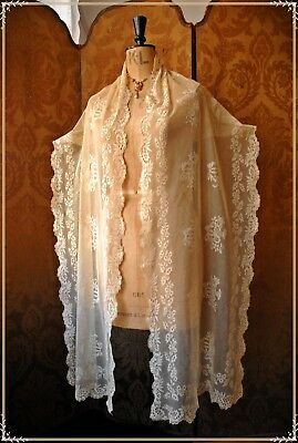1800's VINTAGE ANTIQUE EMBROIDERED LACE STOLE SHAWL COSTUME COLLECT WEDDING