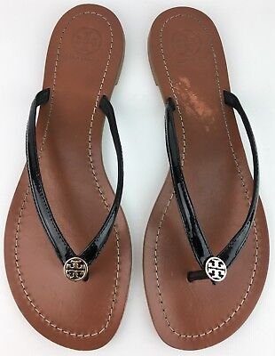 3e9e4c345f91 Tory Burch Terra Black Patent Leather Gold Logo Thong Sandals sz  US 9.5