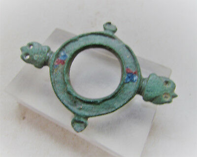 Roman Military Openwork Disc Type Brooch With Animal Heads. Rare