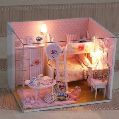 3D Wooden Miniature Dollhouse Furniture Kids DIY Doll House Model Princess Room