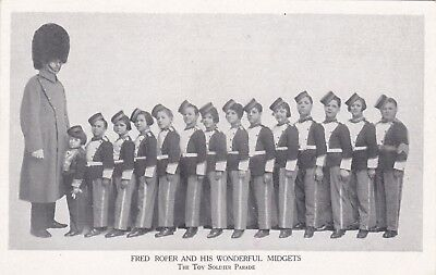 Unusual Old Postcard Guard Bearskin Hat Ted Roper Toy Soldier Parade Midgets E2