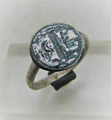 Byzantine Silver Signet Ring With Crescent Moon And Owners Initials On Bezel