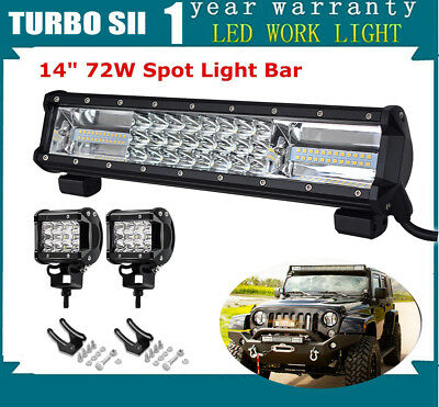 14Inch 72W LED Light Bar Spot Flood Driving Lamp Offroad Fit 4WD SUV ATV 13""