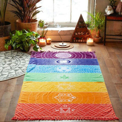 19E5 Colorful Square Rainbow Beach Towel Mat Tapestry Hippie Shawl Scarf Blanket
