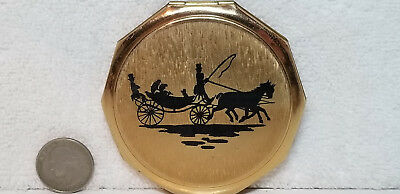 Vtg Signed Stratton Ladies Powder Mirror Compact Stagecoach Silhouette