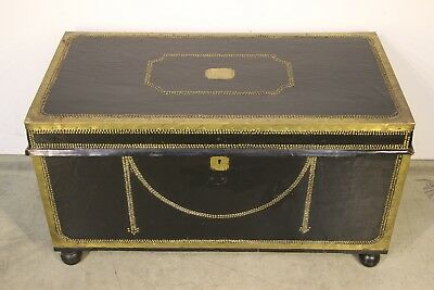 Big 1800's Georgian leather brass camphorwood chest campaign trunk coffee table