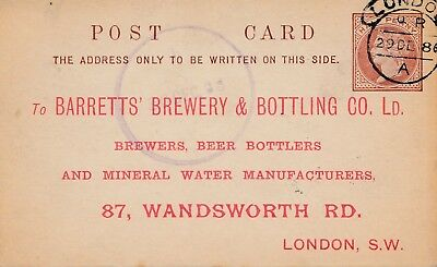 UK: London 1886: Brewery&Bottling-Mineral Water, Ganzsache