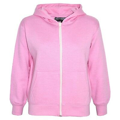 Kids Girls Unisex Plain Fleece Baby Pink Hoodie Zip Up Style Zipper Age 2-13 Yrs