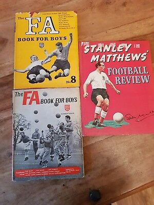 Vintage football annuals Inc Stanley Matthews and FA book for boys