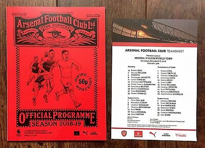 Arsenal v Huddersfield Town Programme With Team Sheet 8th December 2018