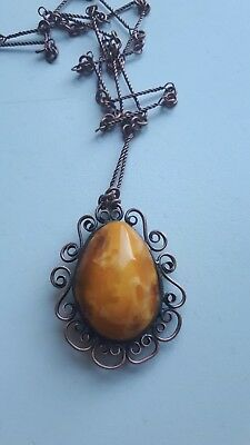 Old Antique Natural Amber Pendant yellow opaque 8,80 gr amber