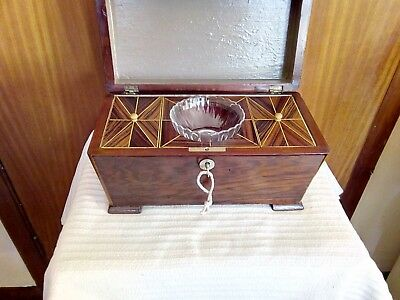 Vintage Antique Inlaid Collectable Wooden Tea Caddy