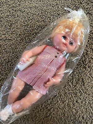 VINTAGE 1950's 1960's NIP Baby Doll Blonde Blue Moving Eyes Creepy Doll Crafts