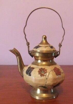Small Solid Brass Enamelled Kettle from Blue Mountains, Australia.