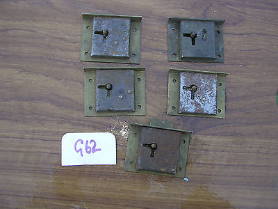 5 Antique Brass Drawer Locks From The Same Chest