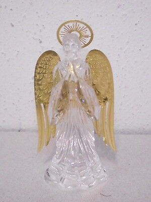 "4"" Clear acrylic brass wings praying Angel Xmas tree ornament figurine ~B"
