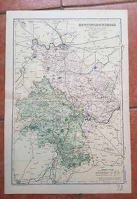 Early 20th century map Bacons Geographical Establishment HUNTINGDONSHIRE