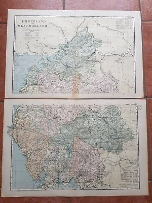 Early 20th century 2 sheet map Bacons Geographical Est Cumberland and WM