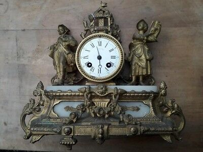 BEAUTIFUL ANTIQUE 19th CENTURY BRONZE FRENCH MANTEL CLOCK FULLY WORKS