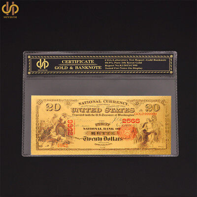 1875 $20 Dollar Banknote Gold Foil Bill Colorized Novelty Paper Money Collection