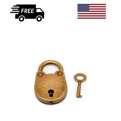🔐 Antique Padlock Lock and Key Old Vintage Style Metal With Bronze Finish 🔐