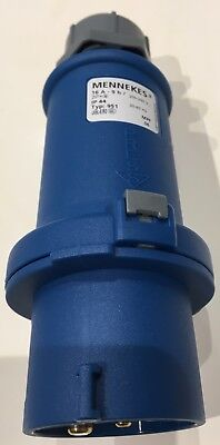 Mennekes StarTOP Series, IP44 Blue Cable Mount 3P+E Industrial Power Plug, Rated