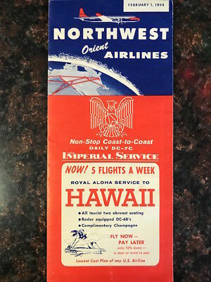 "Vintage ""Northwest Orient Airlines"" flight schedule 1958"