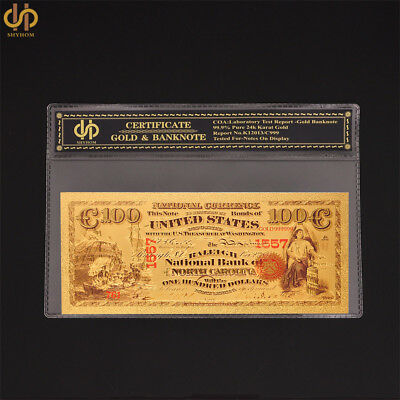 1875 USA Dollar $100 Colorized Gold Banknote Money Gold Bank Note Collection