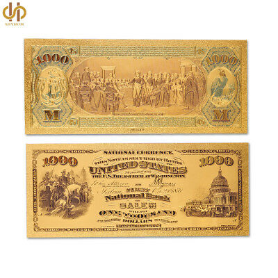 1875 USA Collectible USD $1000 Dollar Color Gold Foil Banknote National Currency