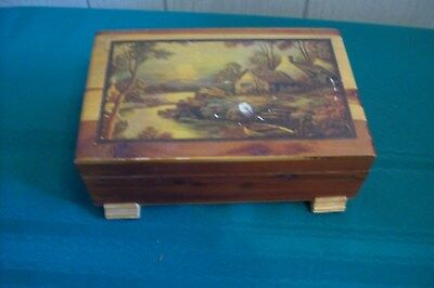 Antique pretty wooden cigar box with cottage scene on lid