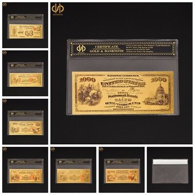 7PCS 1875 USA Colorized Gold Banknote Set $1.5.10.20.50.100.1000 Dollar Bill