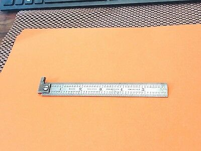 """STARRETT No.603  6"""" Long Hook Spring-Tempered Steel Rule With 4R Graduation. USA"""