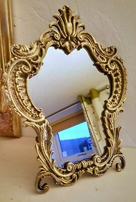 Antique Gilded Metal Brass ? French Rococo Table Mirror Easel Back Vintage