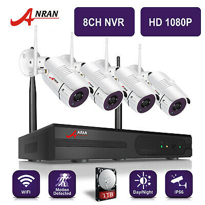 ANRAN 8CH 1080P Wireless Home Security Camera System Outdoor WiFi CCTV NVR 1TB