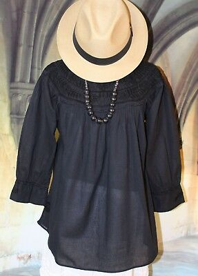 Sm Mexican Blouse Black on Black Boat Neck Hand Embroidered Cotton Peasant Boho