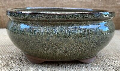 16cm Green Glazed Oval Bonsai Pot