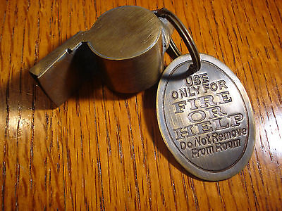 Fire or Help Police Whistle Solid Brass Policeman Patrolman Beat Cop