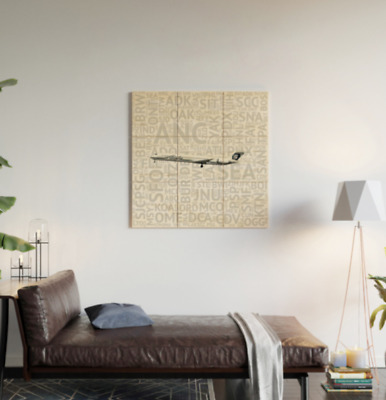 Alaska Airlines MD-80 with Airport Codes - 3' x 3' Wood Wall Art