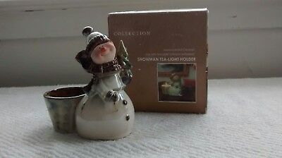 Kirkland Home Woodland Collection hand painted ceramic SNOWMAN TEA-LIGHT HOLDER