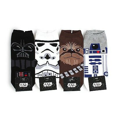 (4Pairs) Disney Star Wars Socks Men Boys Darth Vader Trooper Chewbacca R2D2 NI14