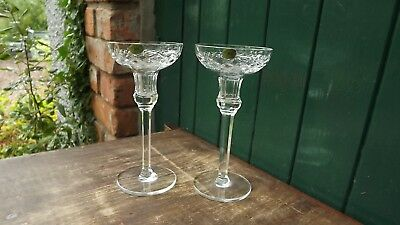Tyrone Crystal Pair of TALL Candlesticks Fully Stamped & labels attahced