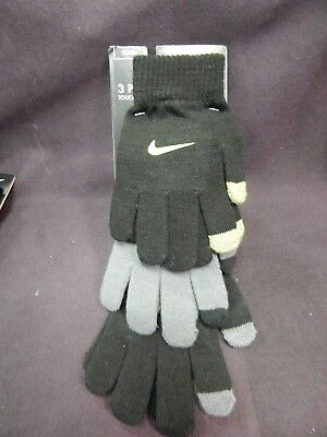Brand New Nike Youth Boys Glove 3 Pack Touch Screen Fingertips Black Grey