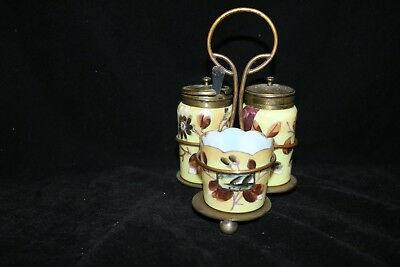 TS Victorian Mt. Washington Style English Made Hand Painted Condiment Set!